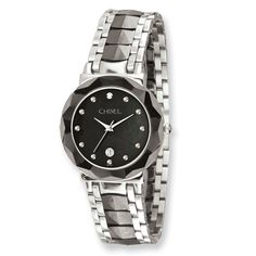 f2181e3c9c1f IceCarats Men s Chisel Stainless Steel  amp  Ceramic Black Dial Watch