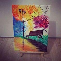 Jardin public - peinture acrylique sur toile