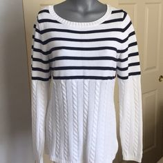 Beautiful nautical sweater This beautiful nautical sweater from Liz Claiborne is a great addition to your wardrobe and from a non-smoking home. Only worn one time in awesome condition Liz Claiborne Sweaters