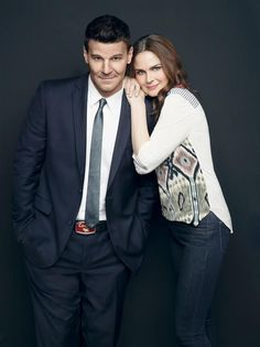 "Seeley Booth (David Boreanaz) and Temperance Brennan (Emily Deschanel) in ""Bones"". I seriously love this show."
