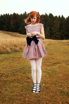 Dress From Home Made, Bow From Beyond Retro, Tights From American Apparel, Shoes From Topshop