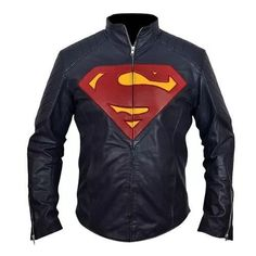 Superman Man of Steel Midnight Blue Leather Jacket Henry Cavill  Unbranded   biker Classic Leather bac0e60b9e75d