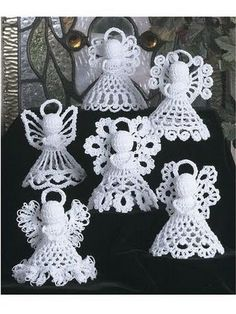 Pattern Crochet Angels Six Designs Christmas Tree Decorations Crochet Angel Pattern, Crochet Angels, Crochet Motifs, Thread Crochet, Crochet Crafts, Crochet Projects, Free Crochet, Crochet Stitch, Crochet Kits