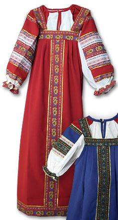 Russian folk dress cotton - Sarafan is traditionally decorated with embroidered ornaments to protect a woman against the evil spirits: the vertical line - to protect the stomach, and the bottom horisontal line - to protect the legs. RusClothing.com