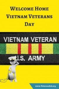 Welcome Home Vietnam Veterans day; VeteranAid.org