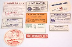 Lot of 10 Vintage Apothecary Labels Pharmacy for scrapbooking crafts collage altered art crafts by scrapitsideways, $4.25