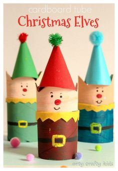 Arty Crafty Kids | Cardboard Tube Christmas Elf Craft | Christmas Crafts do not get cuter than these cheeky little Elves! A super easy Christmas craft for kids.