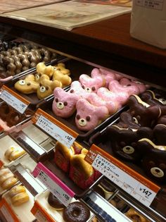 I tried these donuts while in Japan (most nights I was there) . Japanese Donuts, Japanese Shop, Japanese Sweets, Cute Food, I Love Food, Mister Donuts, Food Art For Kids, Chibi, Cute Donuts