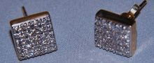 14K Diamond Cluster Earrings Studs Unisex Square Posts 10mm