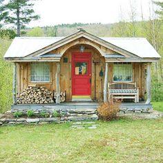 Sweet cabin with red door