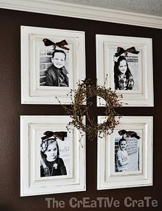 cupboard doors become picture frames. There is a clip to easily switch out the pics!