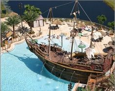 Lake Buena Vista Resort (near Orlando) has a PIRATE SHIP in the pool!  |  Cool place to stay with the boys.
