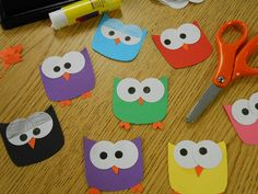 Owl paper craft / Zen - kids crafts and activities - Kids Crafts, Preschool Crafts, Arts And Crafts, Preschool Lessons, Simple Paper Crafts, Preschool Name Tags, Toddler Crafts, Decoration Creche, Construction Paper Crafts