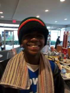 Uh huh, there he is!  He loves his hat and mom told him to wait and see...Well, lo and  behold she was secretly purchasing it for a present....Yup, totally smiling again now, huh   #crochet #hat #rasta
