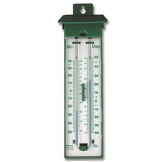 The euro lidded max min thermometer has a modern design with a green case, white back and a green temperature scale and features a push button reset.