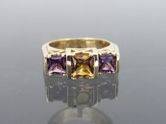 Vintage Solid Yellow Gold Genuine Princess by Citrine Ring, 14k Gold Ring, Gold Rings, Three Stone Rings, Princess Cut, Solid Gold, Heart Ring, Purple, Unique Jewelry