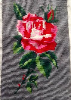 Gorgeous Rose Vintage French Tapestry Needlepoint Worked Completed 14x23cm