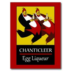 (new work) Retro funny chickens egg liqueur advertising postcards and posters
