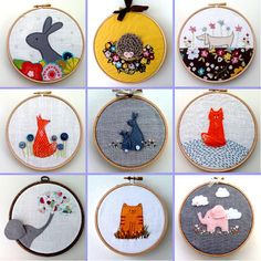 Folt Bolt - the colorful art palette | Box Room Bazaar- framed embroideries