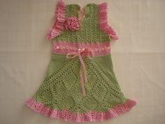 Green girls dress Summer dress Dress with by SniegaKNITandCROCHET, $50.00