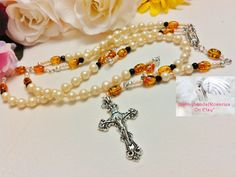 Rosary/Prayer Beads/Cream Pearl Gold Black /Crucifix Silver/Our Lady of Guadalupe  Centerpiece/Catholic/Handmade/Traditional LR#0050 by Justmyhands1Rosaries on Etsy