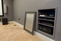 DIY Home Theater Electronics Cabinet Man Cave Media Room dachgeschoss Attic Apartment, Attic Rooms, Attic Spaces, Attic House, Attic Playroom, Home Theater Rooms, Cinema Room, Attic Renovation, Attic Remodel