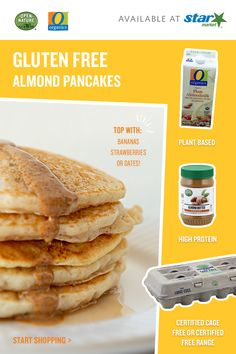 Stay inspired by switching up your morning routine. Top off almond butter pancakes with bananas, strawberries, dates, or all of the above! Shop our exclusive O Organics® and Open Nature products at your local Star Market today. Gf Recipes, Gluten Free Recipes, Cooking Recipes, Cooking Ideas, Cleaning Recipes, Seafood Recipes, Bread Recipes, Food Ideas, Recipies