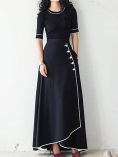 Embellishments:Button,Pocket #maxi #vintage #black Elegant Dresses, Pretty Dresses, Beautiful Dresses, Vintage Dresses, Casual Dresses, Club Dresses, Prom Dresses, Formal Dresses, Indian Fashion Dresses