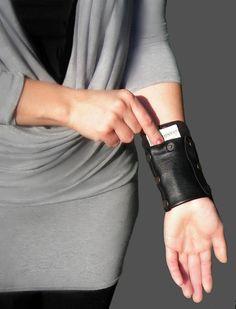 Borsa in pelle nera portafoglio da viaggio Womens Gift