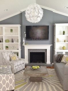 Grey living room- we are going for it! With a rock fireplace and white mantel. I want an l shape couch and a couple armchairs to fill out room
