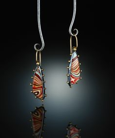 Fordite Earrings. Fabricated Sterling Silver, 14k & 18k. www.amybuettner.com