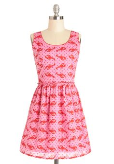 Claw and Order Dress. Cant decide which dish to order at the seaside bistro? #pink #modcloth $41.99