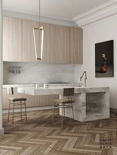 Stunning herringbone wood floors in a chic Barcelona, Spain apartment designed by Katty Schiebeck. Home tour with a modern marble kitchen island and more. Home Interior, Interior Design Kitchen, Interior Architecture, Kitchen Designs, Kitchen Ideas, Luxury Interior, Modern Interior, Art Deco Kitchen, Apartment Interior
