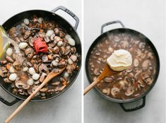Vegan Mushroom Bourguignon is the ultimate savory mushroom stew that's made in one pot and delicious served over mashed potatoes, cauliflower mash or farro! It's a mushroom lover's delight! Vegan Foods, Vegan Vegetarian, Vegetarian Recipes, Cooking Recipes, Healthy Recipes, Healthy Food, Mushroom Bourguignon, Mushroom Stew, Pasta With Walnuts