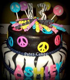 Zebra and peace sign cake 10th Birthday, Girl Birthday, Birthday Ideas, Peace Sign Cakes, Hippie Cake, Fun Cakes, Peace Signs, Girl Cakes, Love Cake