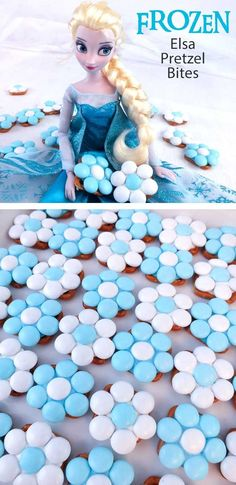 Elsa Pretzel Bites are the perfect sweet and salty treat for a Frozen Birthday Party and will look amazing on your Frozen Party Dessert Table.  So pretty, so yummy and so easy to make!