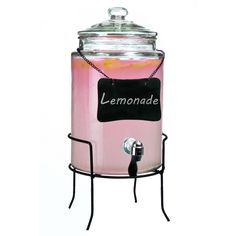 Features:  -Drink dispenser.  -Material: Glass.  -Capacity: 1.5 Gallons.  -Hand wash with soapy water.  -Blackboard on stand with chalk.  -Use for iced tea, lemonades or flavored waters.  Product Type