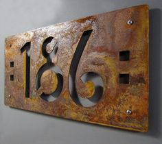 CUSTOM Mission Style House Numbers in Rusted Steel. $99.00, via Etsy. Craftsman revival