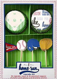 Perfect for a Baseball Birthday Party. Home Run Cupcake Kit