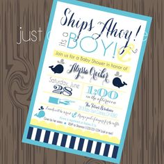 Chalkboard Nautical Whale and Anchor Baby Shower Invitation by