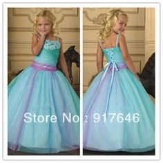 Online Shop New Arrival Fashion Lovely Princess Crystals Spaghetti Straps Blue Birthday Party Little Pageant Flower Girl Dresses For Wedding|Aliexpress Mobile