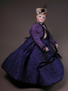 "14 1/2"" Jumeau Fashion Wood Jointed Bisque Arms Purple Blue Quilted Antique Costume"