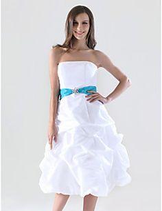 Lanting Bride® Mi-long Taffetas Robe de Demoiselle d'Honneur - Trapèze / Princesse Sans Bretelles Grande Taille / Petite avecJupe Pick