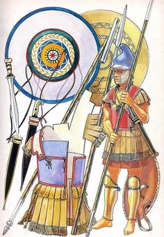 Carthaginian infantryman first and second Punic Wars period. The Lino-thorax cuirass and Phrygian helmet show classic Hellenistic influence. But the Iberian Falcata gives him a uniquely Carthaginian identity. The origin of the Falcata is unclear but its development is parallel to the Greek kopis and is not derived from it.