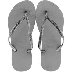 Havaianas Women's Slim ❤ liked on Polyvore featuring shoes, sandals, flip flops, flats, silver, flats sandals, flat heel sandals, strap flat shoes, flat pump shoes and strap shoes