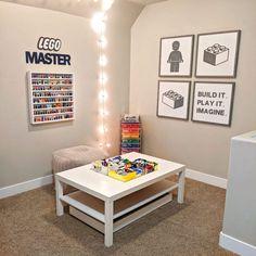 Playroom Organization, Playroom Decor, Organizing, Organization Ideas For Bedrooms, Storage Organization, Organized Playroom, Lego Storage Boxes, Storage Ideas, Lego Table With Storage