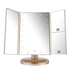 Tri Fold Vanity Mirror With Lights Awesome Touch Trifold Dimmable Led Makeup Mirror  Pinterest  Makeup Review