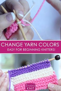 How to Easily Change Yarn Colors While Knitting - Studio Knit - Best Knitting Patterns - How to Easily Change Yarn Colors While Knitting Love this easy technique! How to Change Yarn Colors While Knitting for Beginning Knitters with Studio Knit via - Easy Knitting Projects, Easy Knitting Patterns, Knitting Stitches, Knitting Yarn, Crochet Patterns, Sewing Projects, Hat Patterns, Crochet Ideas, Crochet Projects