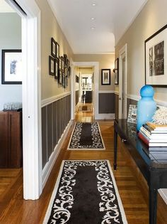 Wainscoting and wall color Home Decor Traditional Hall. Wainscoting Hallway, Wainscoting Styles, Painted Wainscoting, Wainscoting Kitchen, Wainscoting Panels, Wainscoting Height, Hallway Paint, Black Wainscoting, Hallway Walls