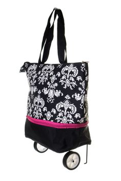 Flowers Print Folding Trolley Ping Tote Bag With Wheels